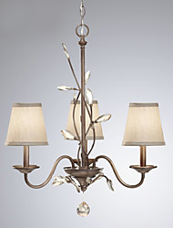 European Style Vintage 3 Light Chandelier Decorated With Crystal Leaves