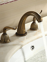 Sprinkle® by Lightinthebox - Antique Brass Finish Widespread Bathroom Sink Faucet