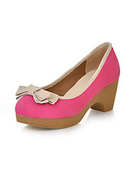 Tasteful Suede Chunky Heel Pumps with Bowknot Casual Shoes(More Colors)