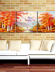 """12 """"-24"""" orologio da parete acero di autunno foresta in 3pcs su tela"""