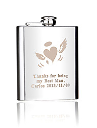 Gift Groomsman Personalized Silver Stainless Steel 7-oz Flask - Love