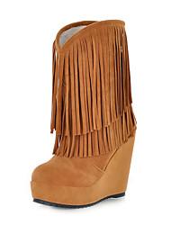 Mujer-Tacón Cuña-Botas a la ModaCasual / Vestido-Ante-Negro / Marrón / Amarillo / Rojo