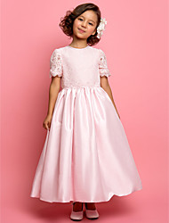 Lanting Bride ® A-line / Princess Ankle-length Flower Girl Dress - Lace / Taffeta Short Sleeve Jewel with Lace