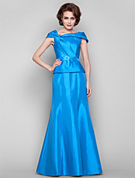 A-line Plus Sizes Mother of the Bride Dress - Ocean Blue Floor-length Short Sleeve Taffeta