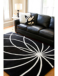 Modern Wool Tufted Area Rug With Curve Pattern 5'×8'