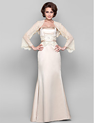 Dress - Ivory Sheath/Column Strapless Floor-length Tulle/Stretch Satin