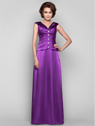 A-line Plus Sizes Mother of the Bride Dress - Grape Floor-length Sleeveless Stretch Satin