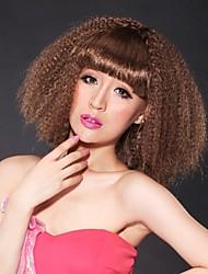 Capless Medium Curly Chocolate Brown Hair Wig Full Bang