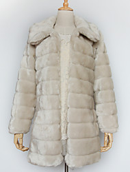 Thick Long Sleeve Turndown Collar Faux Fur Party/Casual Coat