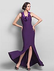 Fiesta formal Vestido - Uva Corte Recto Hasta el Suelo - Escote Halter/Escote en V Jersey Tallas grandes