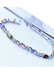ME Fashion Colorful Zircon Plated Platinum Bracelet