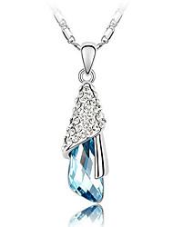 madou Prinzessin Wassertropfen blauen Kristall Halskette