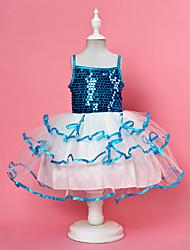 balle robe bretelles spaghetti genou longueur organza pailleté et fille de fleur robe de satin