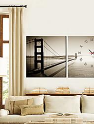 "12 ""-24"" orologio da parete golden gate bridge in 2 pezzi di tela"