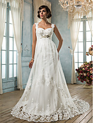 Sheath/Column Plus Sizes Wedding Dress - Ivory Court Train Square Tulle
