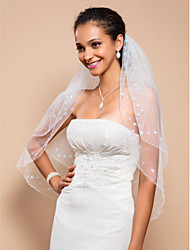 Two-tier Fingertip Wedding Veil With Beaded Edge With Sequins