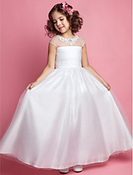 LAN TING BRIDE A-line Princess Floor-length Flower Girl Dress - Tulle Jewel with Beading Appliques Ruching