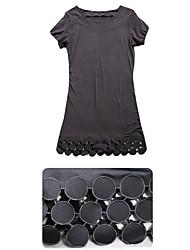 Feminino Crochet Hem Mini Vestido