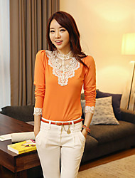 Women's Lace Orange/White T-shirt/Blouse/Shirt Long Sleeve Lace