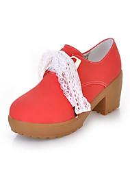 leatherette calcanhar de bom gosto robusto com renda pequeníssimo sapatos casuais (mais cores)