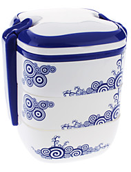 Flower Pattern Three Layers Portable Meal Lunch Box