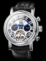 JARAGAR Men's Auto-Mechanical Watch Black Roman Number Leather Band Wrist Watch Cool Watch Unique Watch