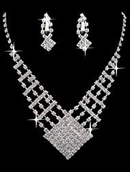 Hermosa plaza del Rhinestone de la aleación de plata de los pendientes y el collar