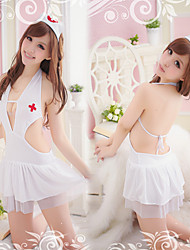 Sexy enfermera de poliéster blanco Backless Lencería Maid