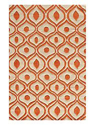 Ojos Extranjero Forma de lana copetuda alfombra 5 'x 8'