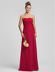 Lanting Floor-length Chiffon Bridesmaid Dress - Ruby Plus Sizes / Petite Sheath/Column Sweetheart