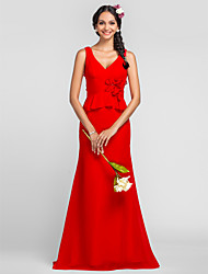 Floor-length Chiffon Bridesmaid Dress - Ruby Plus Sizes Sheath/Column V-neck/Straps