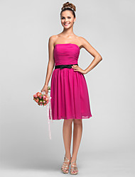 Knee-length Chiffon Bridesmaid Dress - Fuchsia Plus Sizes / Petite A-line / Princess Strapless