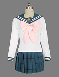 Inspired by Dangan Ronpa Sayaka Maizono Video Game Cosplay Costumes Cosplay Suits / School Uniforms Striped White Long SleeveTop / Skirt