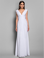Formal Evening Military Ball Dress - Elegant Sheath / Column V-neck Floor-length Chiffon with Side Draping
