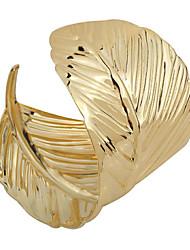 Fashion Alloy Metal Gold Leaf Cuff Bangle