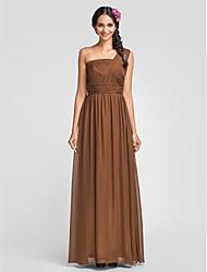 Dress - Brown Sheath/Column One Shoulder Floor-length Chiffon