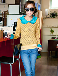 Frauen Rundhals Rüschen Side Sweater
