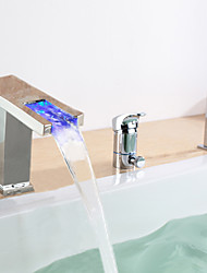 Chrome Finish multicolor LED Contemporáneo Tubfaucet generalizada con ducha de mano