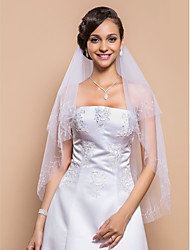 Stylish Two-tier Fingertip Wedding Veil With Beaded Edge