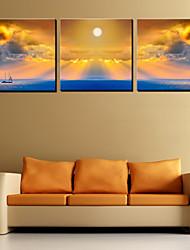 Canvas Art Landscape Veleiro no mar conjunto de 3