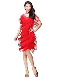 Desempenho dancewear poliéster com borlas & Rhinestone Latina vestido da dança para senhoras (mais cores)