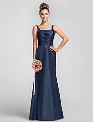 Floor-length Taffeta Bridesmaid Dress - Dark Navy Plus Sizes / Petite Sheath/Column Straps