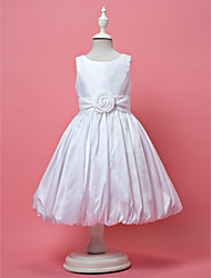 A-line Princess Knee-length Flower Girl Dress - Taffeta Jewel with Draping Flower(s) Sash / Ribbon
