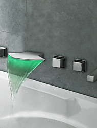 Contemporary Chrome Finish LED Thermochromic Waterfall Bathroom Tub Faucet
