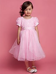 A-line Ball Gown Princess Knee-length Flower Girl Dress - Polyester Tulle Scoop with Bow(s) Sash / Ribbon Pleats