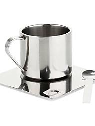 6 oz copo de café de aço inoxidável polido conjunto com discos