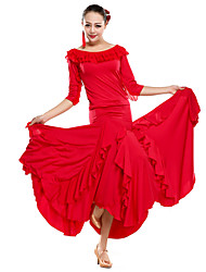 Desempenho dancewear viscose com babados Outfits Modern Dance For Ladies (mais cores)