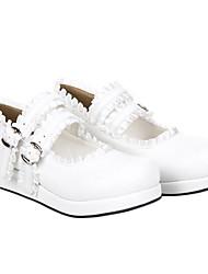 Dulce niña blanca de la PU de cuero plano Classic Lolita Shoes