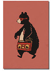 Stretched Canvas Art Animal Boombox Bear by Budi Satria Kwan