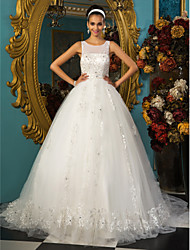 Lanting Ball Gown Plus Sizes Wedding Dress - Ivory Chapel Train Scoop Tulle